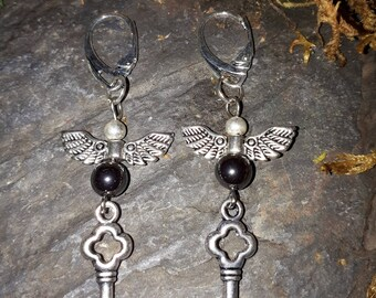 Wings and Keys Earrings, Hematite, Steampunk Earrings