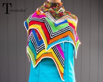 Woman tricotcolor knitting accessories wool jacquard knit shawl wool multicolor wool