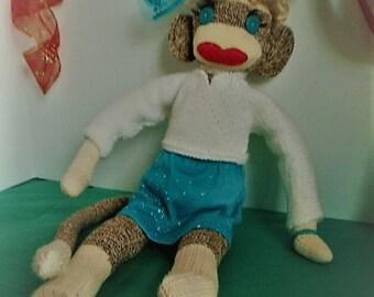 Marilyn Monkey Ready for Business, Sock Monkey Marilyn, Dolled Up Sock Monkey