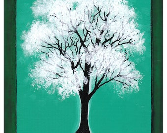 White tree, Green Background