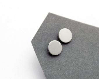 Geomeric silver color stud earrings - minimalist, modern round matt anodized aluminium jewelry
