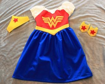 Child Sized Wonder Woman Dress, Crown and Cuffs