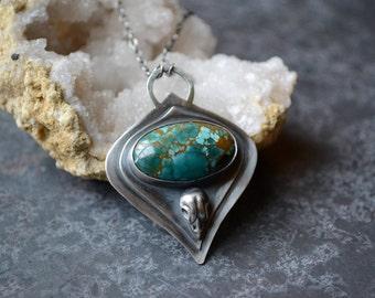 Hubei Turquoise Bird Skull Talisman Necklace