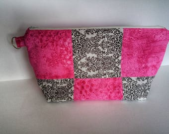Quilted Makeup Bag, Travel Makeup Bag, Toiletry Storage, Gift for Her, Pink & Black Zipper Pouch, Travel Cosmetic Bag, READY TO SHIP