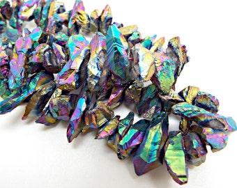 Electroplated Quartz, Full Strand, Titanium Quartz, Quartz Crystal, 15 Inch Strand, Rainbow Quartz, Crystal Nuggets, UK Gemstone Supply