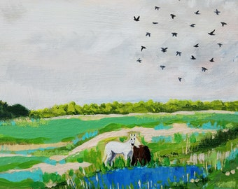 landscape painting, horse art, farm art, impressionism, abstract landscape painting