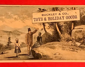 Victorian Trade Card 1800s, Victorian Family Sightseeing, Buckley Co, Toys, Holiday Goods, Victorian Collectible