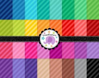 Diagonal Stripes Digital Paper, Stripy Digital Backgrounds, Striped Digital Scrapbook Paper, Instant Download, Commercial Use