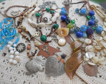 Vintage Junk Drawer Jewelry Lot Destash Supplies Beaded Necklaces, Shell Beads, Handmade Ring, Glass Pendant, Elephant Pendant Heart Pendant