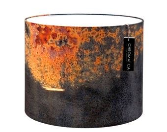 Lamp Shade - Titanic. Photography lampshade, rust, red, orange, industrial.