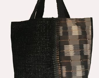Black velvet and silk madras XL tote bag