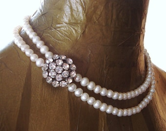 Upcycled Bridal Necklace: Asymmetrical Vintage Rhinestones, Ivory Freshwater Pearls, Sterling Silver - Vintage Hollywood (The Astor)