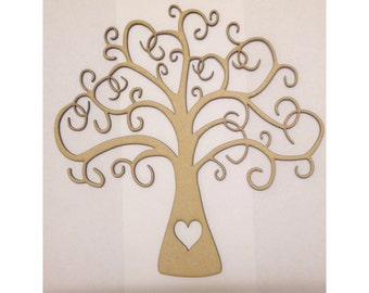 Wooden Family Tree 35cm x 35cm Craft Shape But 2 get 3rd Free