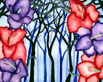 Fantasy Art Print, Watercolour Art print, Enchanted forest, Wall art, Art Print, Fantasy Illustration, Fantasy wall art, Gluxart,