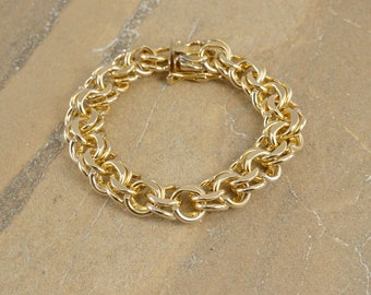 12k Gold Filled Double Tiered Curb Link Fancy Chain Bracelet 7""