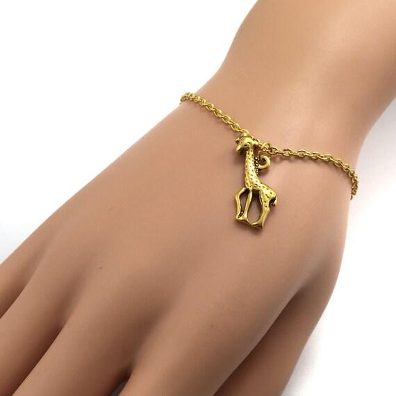 Giraffe Charm Bracelet: Gold Giraffe Bracelet Customizable Charm Bracelet/Anklet