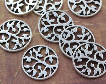 10 Tree Charms Tree Pendants Antiqued Tibetan Silver Double Sided 20mm