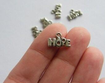 BULK 50 Hope charms antique silver tone M246