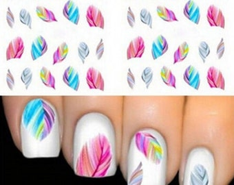 Nail Stickers feathers / Nail Tattoos / Nail Decals 1724