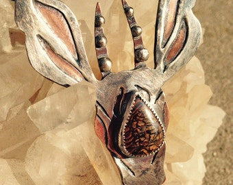 Young Stag /// Handmade OOAK Silver and Copper Pendant with Boulder Opal