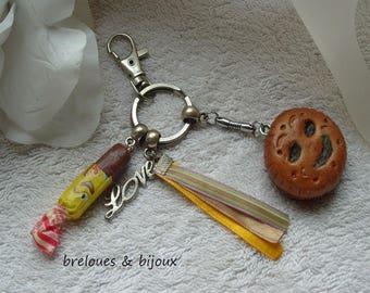 MODELAGE BISCUIT CARAMEL bijou de sac  biscuit fourré et barre caramel pour l'embellissement de votre sac a main