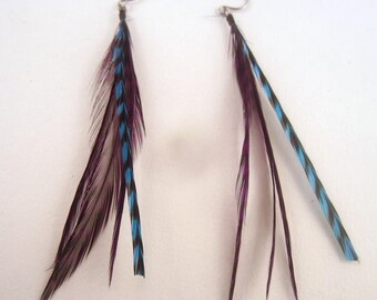 grizzly feather earrings purple and blue
