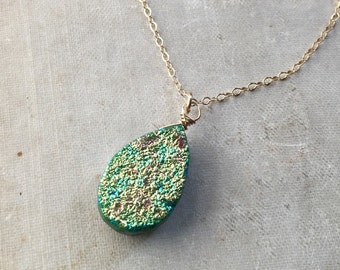 Druzy  Necklace, Green Gem and Gold Filled Necklace, Fine Jewelry