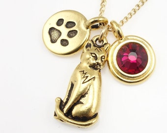 Cat Necklace Personalized Charm Necklace Gold Jewelry Gift for Her Cat Lover Gifts for Mom Under 30 Birthstone Jewelry Kitty Gold Necklace