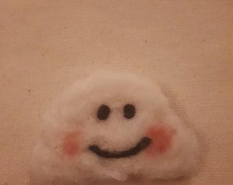 Needle felted cloud brooch