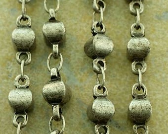 5mm beaded antique silver chain