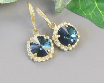 Navy Blue Earrings - Swarovski Earrings - Bridesmaid Earrings - Gold Drop Earrings for Women - Swarovski Jewelry - Bridesmaid Jewelry