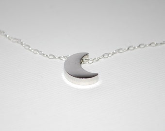 Sterling silver necklace with silver crescent moon, moon necklace, silver moon necklace, crescent moon jewelry