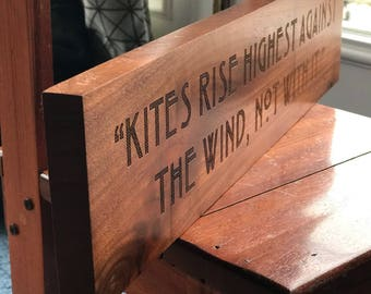 Churchill Quote on Adversity Engraved in Wood