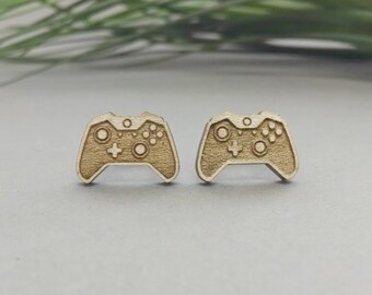 Xbox One Controller Earrings - Laser Engraved Wood Earrings - Hypoallergenic Titanium Post Earring Pair - Xbox One