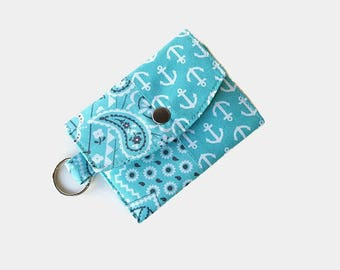 Turquoise Mini Key Ring Wallet - Pocket Wallet Credit Card Holder - Optional Key Fob - ID Holder - Small Travel Wallet - Key Ring Wallet