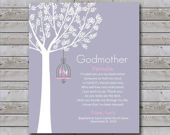 Godmother Gift - Personalized Godmother Print - Gift for Godparents - Gift for Baptism or Communion - Available In Any Color