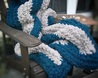 Chunky Handmade-Knitted Chenille Blanket