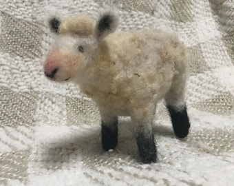 Needle felted sheep with raw fleece