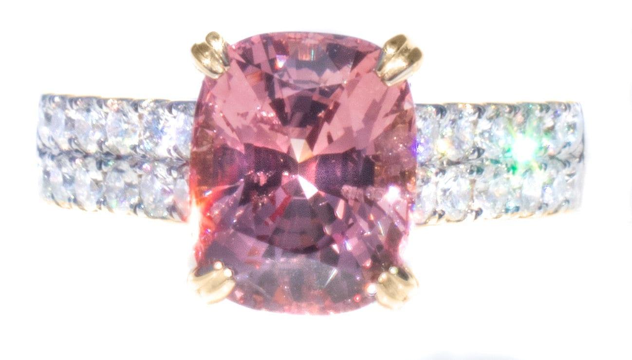 RARE Pink Natural Spinel & Diamond Ring