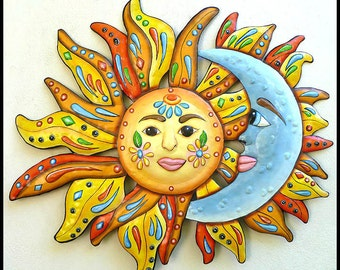 Outdoor Metal Art Sun Moon Art Metal Wall Art Garden Decor Painted Metal Wall Hanging24  Patio Decor Metal Art Design - J-150-24  sc 1 st  Etsy & Sun Metal Wall Art Garden Art 34 Painted Metal Wall