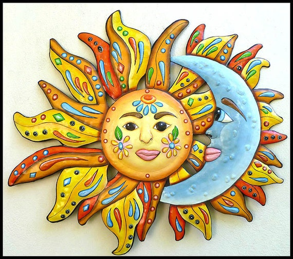sc 1 st  Etsy & Sun Moon Art Metal Wall Art Painted Metal Wall