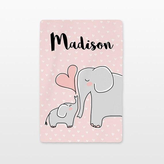Elephant Personalized Baby Blanket Name Custom Gender Neutral Baby Boy Baby Girl Minky Fleece New Baby Gift Idea Cute Animal Gray Peach Pink