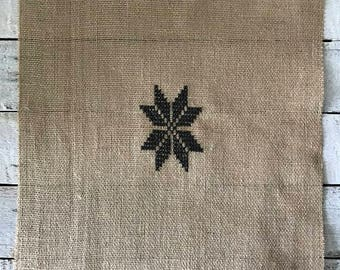 STAR,  cross stitch, embroidery, jute fabric