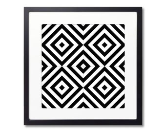 Black And White Framed Print, Modernist Decor, Graphic Pattern, Minimalist Print, Wall Decoration for Interior Design