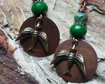 Antiqued Brass Swallow Earrings