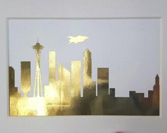 "Futurama Skyline Gold Foil Matted Print 5""x7"""