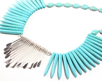 Spike Necklace, Turquoise Howlite Spikes, Silver Spikes, Statement Necklace, Southwest Necklace