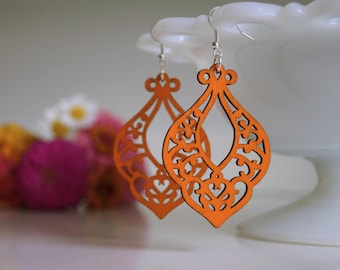Laser Cut Earrings, Summer Earrings, Orange Earrings, Boho Earrings, Wooden Earrings, Ten Dollar Gift, Gift Idea, Orange Earring