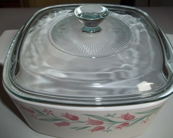 Corning Ware  1 1/2 Quart/ 1 1/2 Liter Rosemarie A-1 1/2-B with Pyrex lid