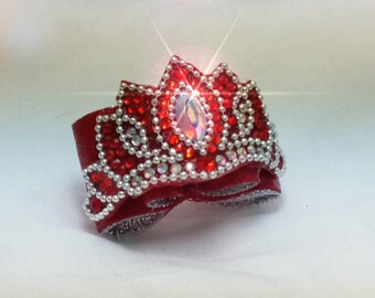 """5/8 Double Loop Rhinestone Crystal """"LoveU""""  Show Bow  for Dogs"""